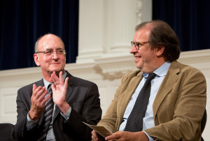 Fred Iseman, right, with Metropolitan Opera chief Peter Gelb, at Yale School of Music convocation (2013)